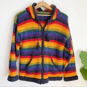 Hand Made Rainbow Wool Multicolored Jacket Hooded